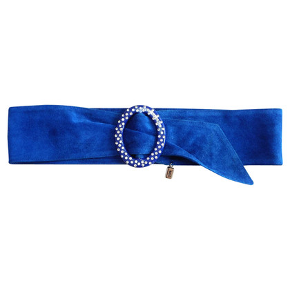 Yves Saint Laurent Suede belt in cobalt blue