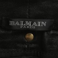 Balmain Lederhose in Schwarz
