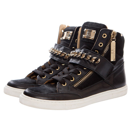 Elisabetta Franchi suede/leather sneakers with golden chain