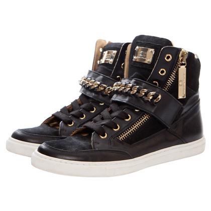 Elisabetta Franchi scarpe da tennis in pelle scamosciata / pelle con catena dorata
