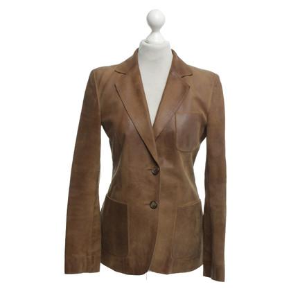 Miu Miu Leren blazer in bruin
