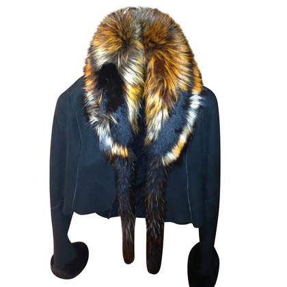 Roberto Cavalli Jacket with bordeaux fox collar
