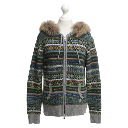 Bogner Knitted vest with fur trim