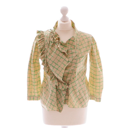 Marni Green beige Plaid blouse