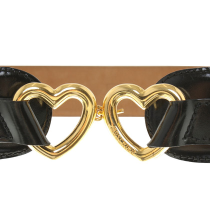 Moschino Leather belt with application