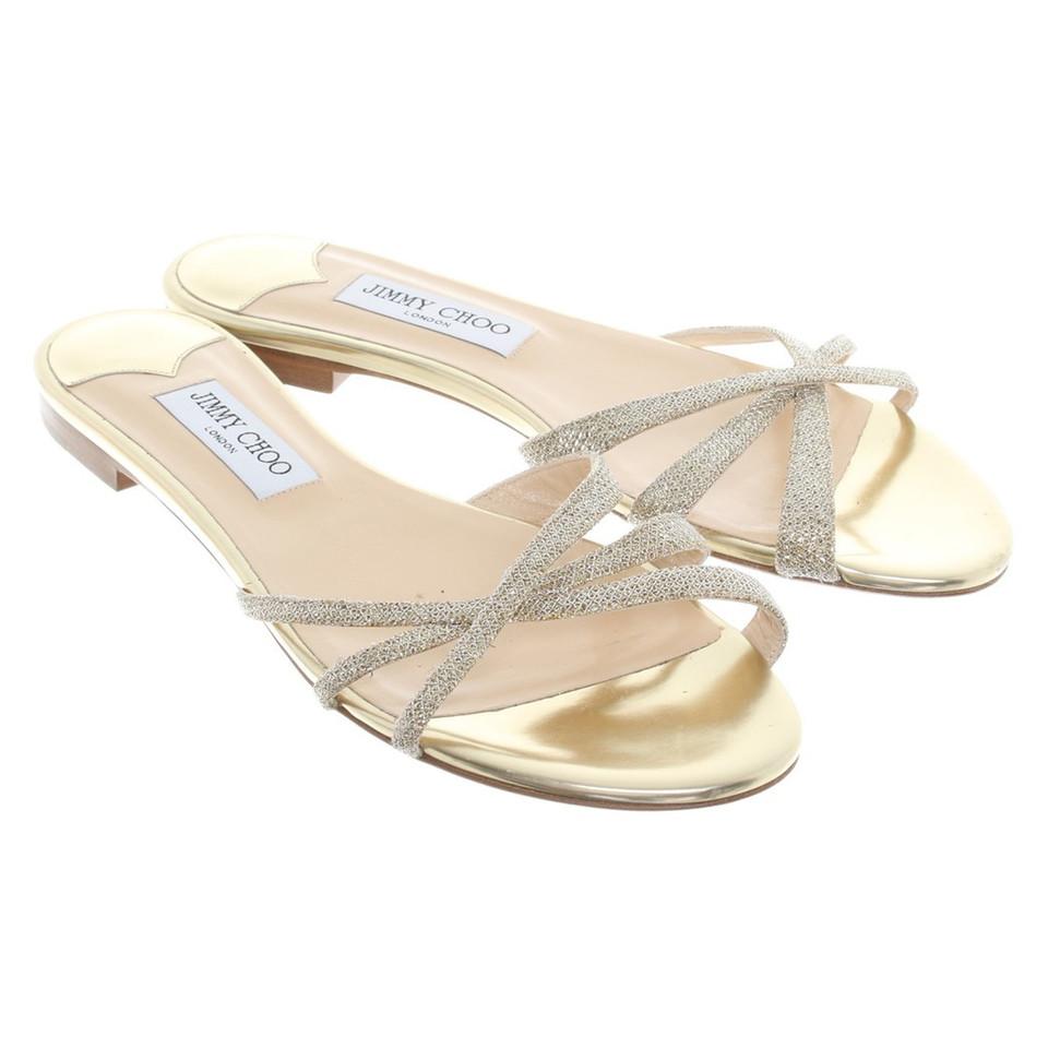 jimmy choo goldfarbene sandalen second hand jimmy choo goldfarbene sandalen gebraucht kaufen. Black Bedroom Furniture Sets. Home Design Ideas