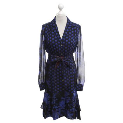 """Diane von Furstenberg Dress """"Catherine"""" in blauw / zwart"""