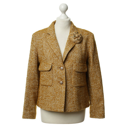 Chanel Bouclè jacket in mustard yellow and white