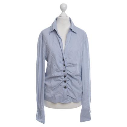 René Lezard Gestreepte blouse met ruches