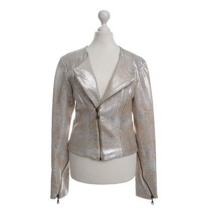 Guido Maria Kretschmer Leather jacket in gold