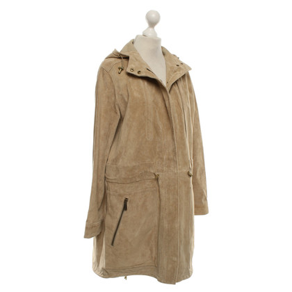 Michael Kors Wild leather coat in beige