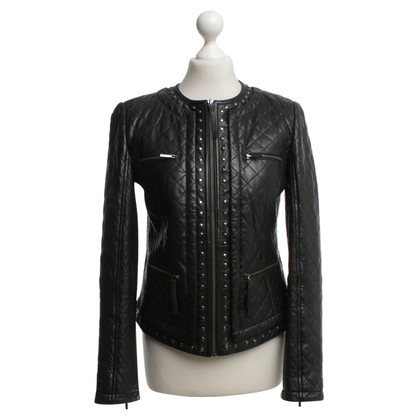 Max Mara Leather jacket with rhombus quilting