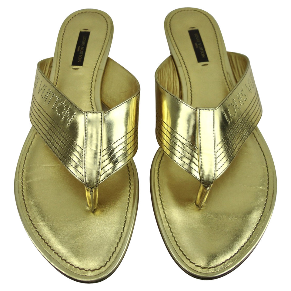 louis vuitton sandalen in gold second hand louis vuitton. Black Bedroom Furniture Sets. Home Design Ideas