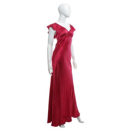 John Galliano Robe en soie rose-rouge