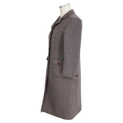 Miu Miu Miu Miu Tweed Wool Coat Brown
