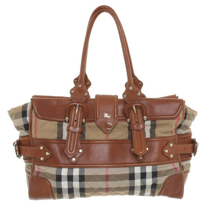 Burberry Bag in check pattern with leather details