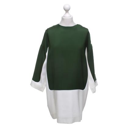Céline Robe en vert / blanc crème