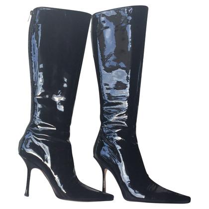 Jimmy Choo Stivali di pelle nera di brevetto