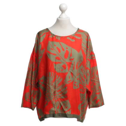 Luisa Cerano Zijden shirt met bloemenprint