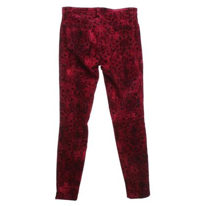 J Brand pantaloni di velluto con motivo floreale