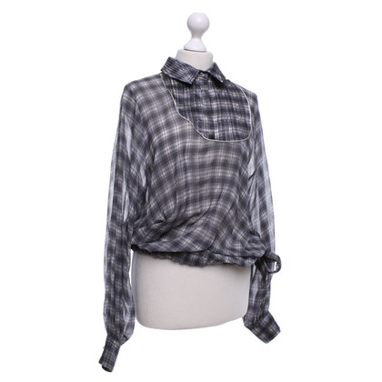 Wunderkind Silk blouse with check pattern