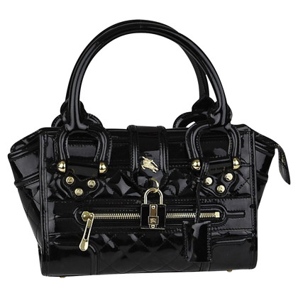 Burberry Manor Black Quilted Patent Leather Bag