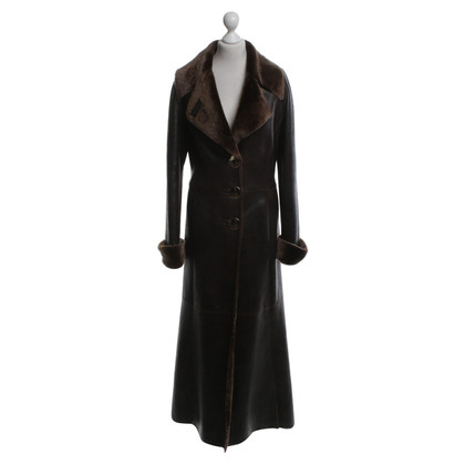 Giorgio Armani Lambskin coat in brown