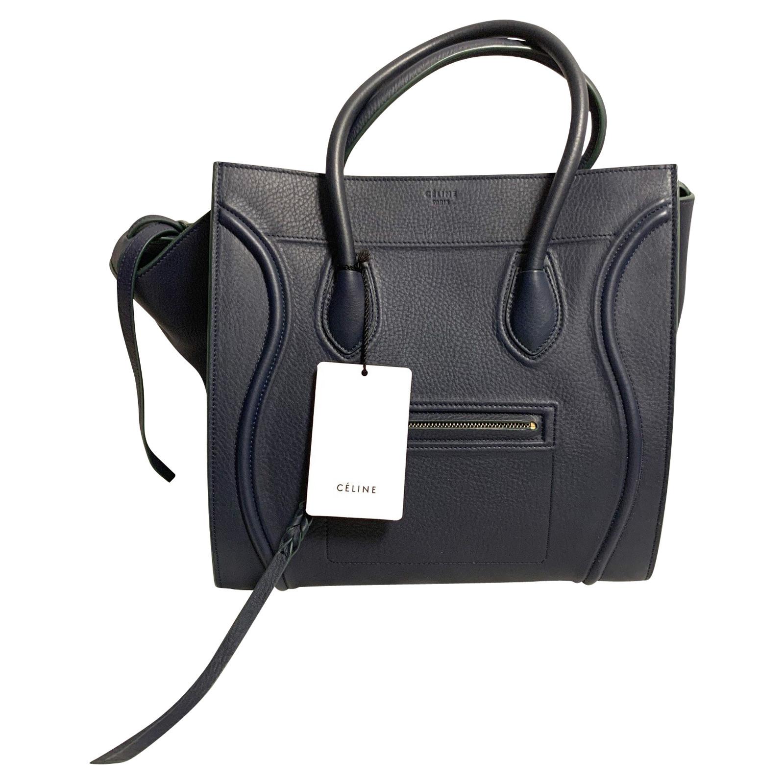 Céline Handtasche aus Leder in Blau Second Hand Céline
