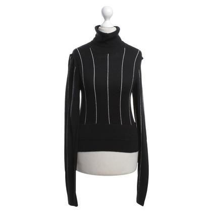 Michael Kors Roll collar sweater in black / white