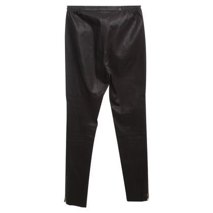 Utzon Pantaloni di pelle in marrone scuro