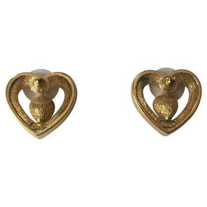 Christian Dior Hartvormige oorbellen met strass