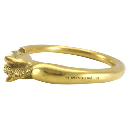 Hermès Placcati in oro Testa di cavallo Bangle