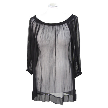 DKNY Transparent silk top in black