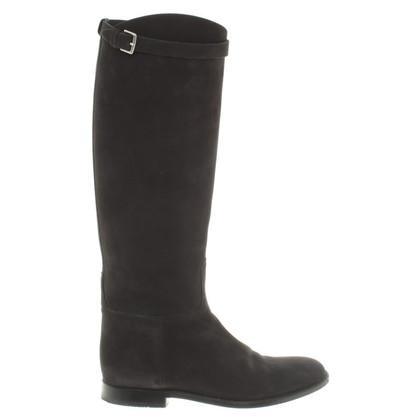 Hermès Suede boots in black