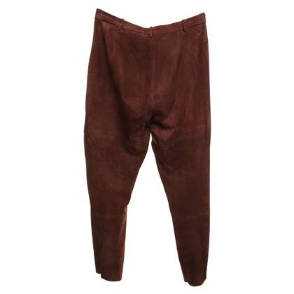 Marc Cain pantalon en daim marron foncé