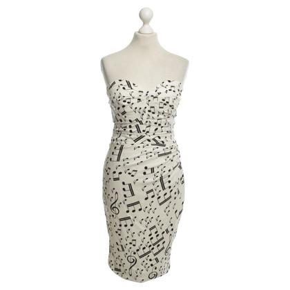 Dolce & Gabbana Strapless jurk in zwart-White