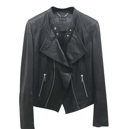 Airfield Lederjacke in Schwarz