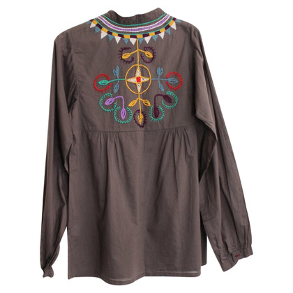 Antik Batik Tunique Brodée Mugu Kurta Marron