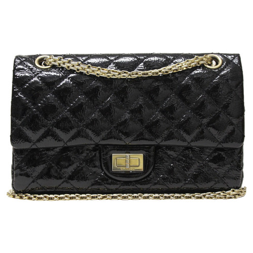 Chanel Clutch Bag Patent leather in Black - Second Hand Chanel ... a36a19f1a892e