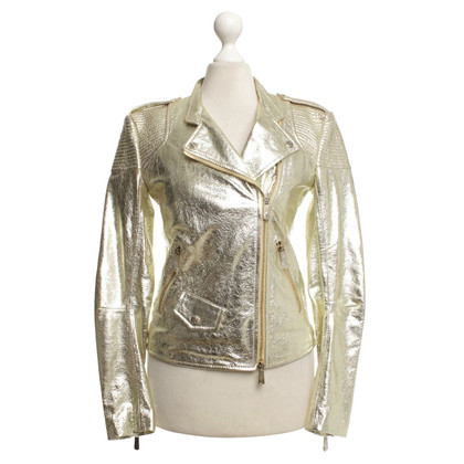 Faith Connexion Goldfarbene Lederjacke