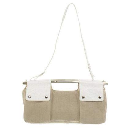 Prada Bag di tela con pelle di struzzo