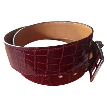 Hermès Crocodile belt Bordeaux 42 mm