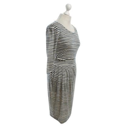 Max Mara Gestreepte jurk met stropdas detail