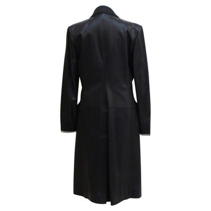 Christian Dior Leather Blazer in dark blue