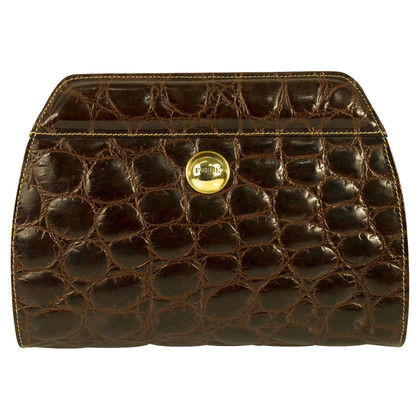 Ferre Croco Brown Leather Bag clutch