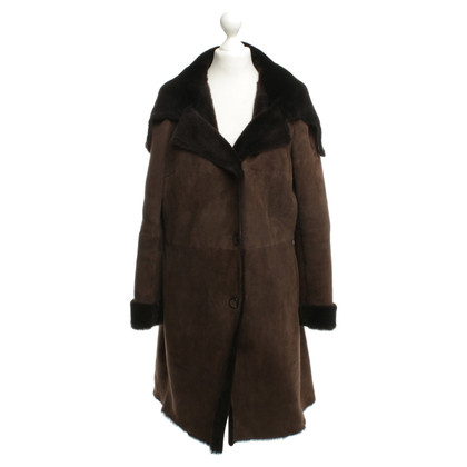 Other Designer Leather coat with fur