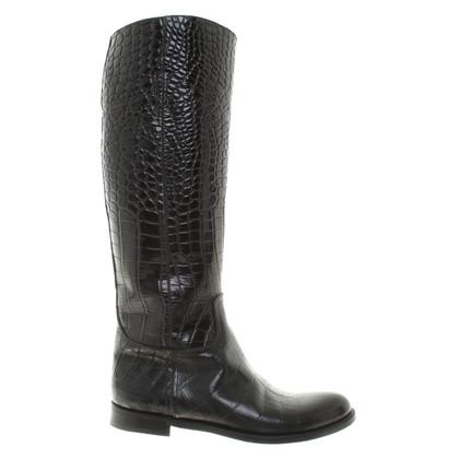 Prada Boots in crocodile leather look