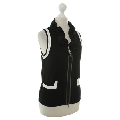 Marc Cain Drops sleeveless Cardigan in black/white