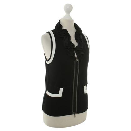 Marc Cain DROPS mouwloos vest in zwart/wit