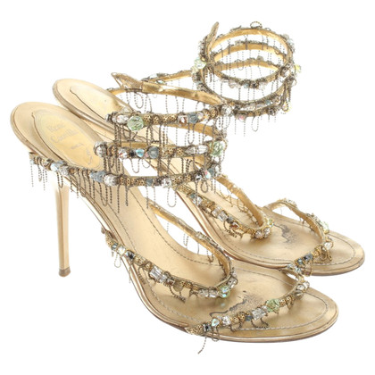 René Caovilla Sandals in Gold